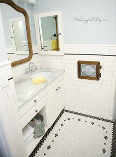 nicole curtis, subway tile bath   Hex and Subway Tile DIY Bathroom