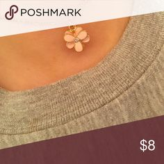Pretty pink flower choker! Gold chain with light pink flower gem...adjustable choker LC Lauren Conrad Jewelry Necklaces
