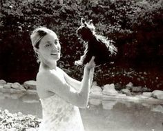 A lovely shot of a heavily pregnant Sharon with her beloved dog Prudence. This was one of a number of photographs that Woijiech Frykowski took of Sharon in the garden of Cielo Drive shortly before they both tragically perished.