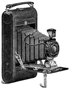 aged paper ephemera, old catalogue page, black and white clipart, antique camera illustration, vintage camera clip art, conley camera ad, 1916 camera: