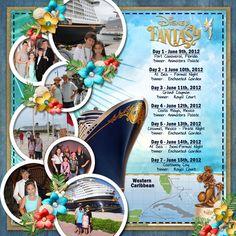 Disney Fantasy itinerary; Disney Cruise Line; DCL; layout by Cynthia Y2