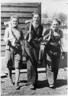 Three trainees for the Women's Timber Corps at Shandford, Angus, 1942.