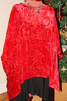 lovely red seasonal silk devore velvet top by Sassyandsustainable