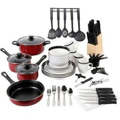 Cooking & Dinnerware 84 Piece Combo Starter Set Pots, Dishes, Silverware,  Black