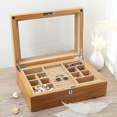 134.15$  Buy now - http://aliirn.worldwells.pw/go.php?t=32740561761 - Export American Oak Pure Real Wood Jewelry Box Jewelry Box Jade Jewelry Collection Boxes Can Put Bracelets Lock