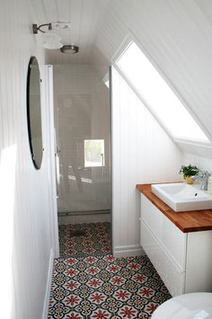 Adding an attic bathroom may seem like an appealing idea. One of the benefits of an attic bathroom is that it can create an additional living space in the house. House Bathroom, Small Spaces, Home, Small Attic Bathroom, Upstairs Bathrooms, Small Bathroom Tiles, Bathroom Design, Bathroom Decor, Beautiful Bathrooms