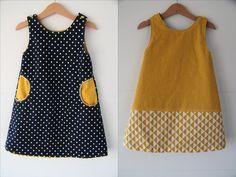robe réversible    Crash test du patron gratuit de la robe chasuble (ou trapèze) Poppy de Lou and Me .  La robe trapèze est un basique pou...
