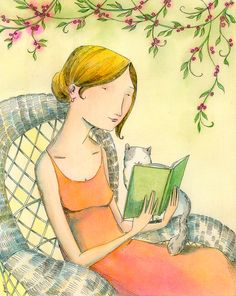 Outdoor Reading - Nicole Wang. Reminds me of a grown up Lila (grey & white cat included!)