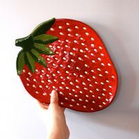 Strawberry platter vintage 1960s home decor