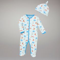 John Lewis Baby Fox Print Sleepsuit and Hat, Blue/Multi £14.00. Features foxes, squirrels, badgers!