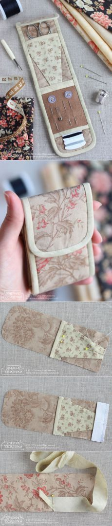 Косметички -сумки (Page is in Russian) How to sew sewing organizer / Tiny sewing kit tutorial - Evening gatherings Sewing Case, Sewing Tools, Sewing Notions, Sewing Hacks, Sewing Tutorials, Sewing Patterns, Sewing Kits, Fabric Crafts, Sewing Crafts