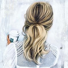 Hair and lifestyle  Art by @kateartis22 #hairstyle #coffee
