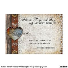 Rustic Barn Country Wedding RSVP