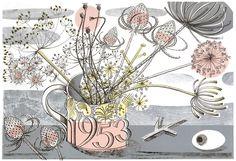 The 1953 Coronation Mug - linocut by Angie Lewin - printmaker