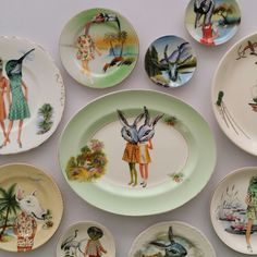 Terry Angelos - Collage on Vintage Landscape Plates Vintage Landscape, Collage, Plates, Tableware, Fun, Licence Plates, Collages, Dishes, Dinnerware