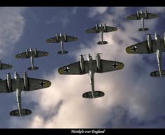 Heinkel He-111 bombers fly over England during the Battle of Britain, World War II.