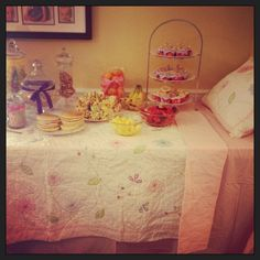 Food table made to look like a bed for Allies pancakes and pajamas party