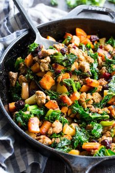 This sweet potato paleo breakfast hash is loaded with flavor, filling, nourishing, with the perfect sweet/savory balance. Pan fried sweet potatoes are cooked with seasoned ground meat, greens, apples and cranberries for a delicious Whole30 and Paleo breakfast without the eggs!