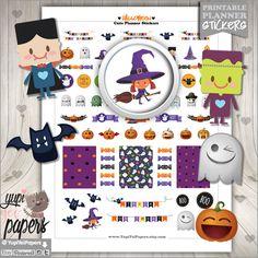 Halloween Stickers, Planner Stickers, Witch Stickers, Pumpkin Stickers, Ghost Stickers, Planner Accessories, Erin Condren