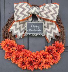 CHALKBOARD Fall Wreath Pumpkin Orange-Thanksgiving Wreath - Burlap Wreath - Monogram - Grey Chevron Bow and Chalkboard Personalize Sunflower...