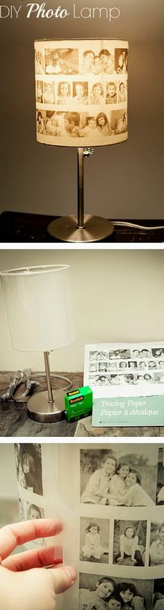 DIY Photo Lampshade. Make this beautiful photo lampshade with vintage photos from your own childhood! Easy and fun to make! A great way to light up the room with cherished memories and display a piece of the past.
