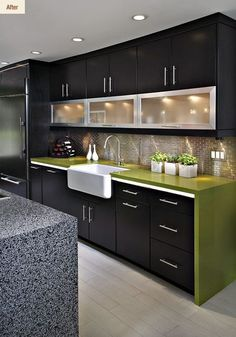 Modern Kitchen Interior - A contemporary kitchen design means different thing to different people. For some it is a clean bold look, for others […] Kitchen Room Design, Kitchen Cabinet Design, Home Decor Kitchen, Interior Design Kitchen, Home Design, Kitchen Ideas, Kitchen Furniture, Country Kitchen, Kitchen Colors