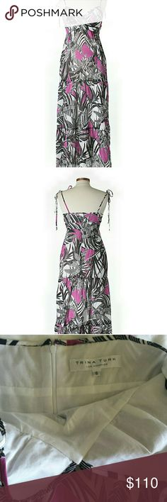 Trina Turk floral maxi Gorgeous black, white and purple maxi by Trina Turk. Fully lined with adjustable tie spaghetti straps. Size 6 Trina Turk Dresses Maxi