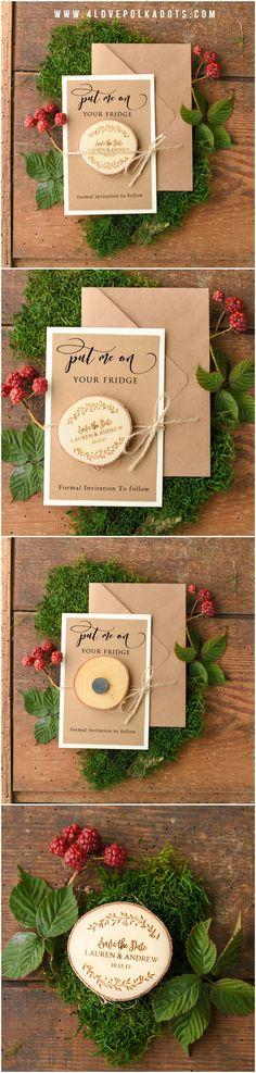 Rustic Save the Date Card with wooden magnet #rustic #wood #savethedate #countrywedding #barn #farm #weddingideas #weddingtrends2017
