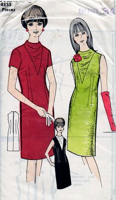 1960s Mod Sheath Dress With Cowl Neckline by BessieAndMaive, $14.00