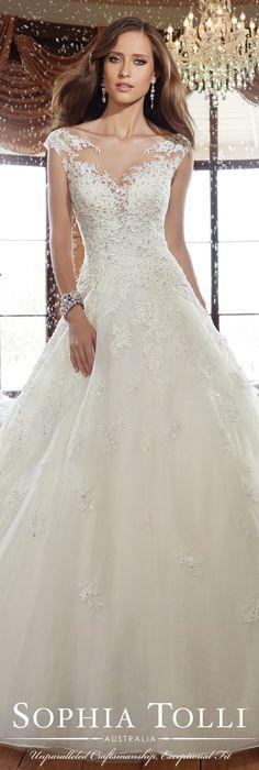 The Sophia Tolli Fall 2015 Wedding Dress Collection - Style No. Y21509 sophiatolli.com #laceweddingdress @moncheribridals