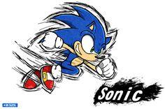 Smash Art: Sonic by on DeviantArt Doom 3, Sonic Adventure, Pop Culture Art, Sonic Art, Super Smash Bros, Art Tutorials, A Team, Sonic The Hedgehog, Sketches