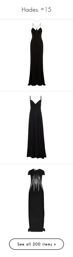 """Hades. #15"" by xiuchen-was-taken ❤ liked on Polyvore featuring dresses, gowns, long dresses, evening gowns, cutout dresses, special occasion dresses, long cocktail dresses, cocktail dresses, black and slit dress"