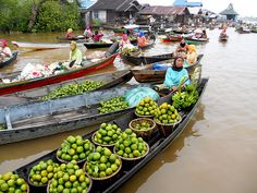 Floating market at Lok Baintan. Floating morning market at Lok Baintan on Martapura River, Banjarmasin - South Kalimantan - Indonesia
