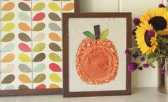 Framed Fabric Pumpkin