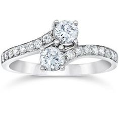 14k White Gold 'Forever Us' Two Stone Round 1 carat Diamond Solitaire Ring