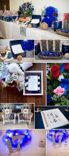 Maritime Hochzeit mit Anker Symbolen und Deko im Meer-Look.  Fotos: © Jasmine Rose Photography