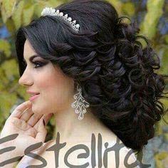 Wedding Hairstyles With Crown, Bride Hairstyles, Cool Hairstyles, Updo Hairstyle, Bridal Makeup, Bridal Hair, Quince Hairstyles, Picture Day Hair, Hair Pictures