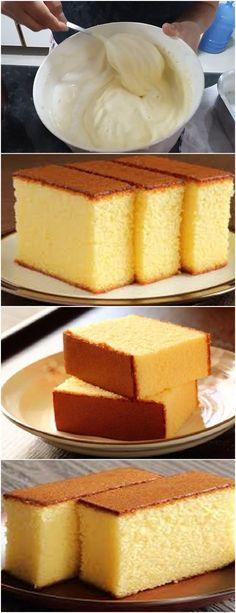 Ingredientes Ovos - 4 Açúcar - 2 xícaras Farinha de trigo - 2 xícaras Leite - 1 xícara Fermento em pó - 1 colher de sopa Margarina - 2 colheres de sopa bem cheias Instruções Na batedeira, bata as 4 claras em neve. Acrescente as gemas e bata mais um pouco até misturar bem. Acrescentar o açúcar, a farinha e o [...] Sweet Recipes, Cake Recipes, Pan Dulce, Love Cake, Cake Cookies, Muffins, Bakery, Sweet Treats, Cheesecake