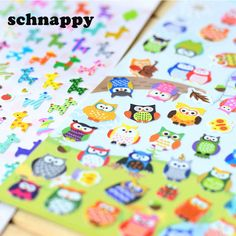 5 sheet Children Cute Owl Giraffe Reward Stickers Lable