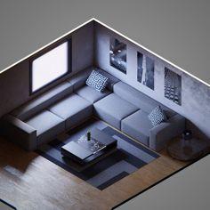 Isometric Art, Isometric Design, 3d Design, House Design, Cube World, Arte Steampunk, Architecture Sketchbook, Game Room Design, Living Room Tv