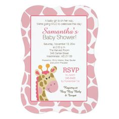 Pink Giraffe It's a Girl Baby Shower Invitation