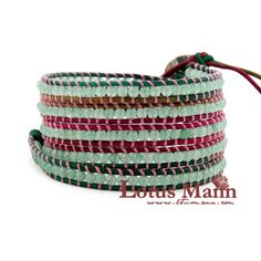latest new Lotusman type jade leather beaded bracelet Wrap Bracelet on Leather