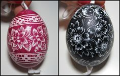 Adam travels a lot for work. He just got back from Prague and brought me the most lovely handmade Czech Easter eggs as a souvenir. He bought them at a store called Manufaktura that says… Egg Shell Art, Scratch Art, Egg Designs, Egg Decorating, Egg Shells, Easter Eggs, Christmas Bulbs, Holiday Decor, Holiday Ideas