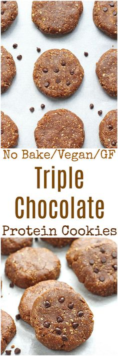 No Bake Triple Chocolate Protein Cookies - These No Bake Triple Chocolate Protein Cookies are gluten-free, dairy-free, vegan and high in protein. Whipped up in less than 10 minutes in a food processor, these cookies are the perfect mid-day snack or post-workout fuel.