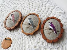 wooden brooch bird red embroidery pin wood setting. via Etsy.
