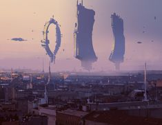 cinemagorgeous: Sci-fi concept art by Bogdan Tufecciu. Cyberpunk City, Futuristic City, Fantasy Places, Sci Fi Fantasy, Environment Concept Art, Environment Design, Carte Star Wars, Sci Fi Stadt, Sci Fi Wallpaper