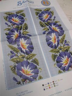 Sajou Berlin Woolwork Chart- Cross Stitch/ Petit Point-  Morning Glory ie.picclick.com