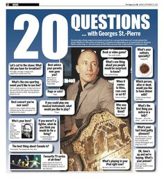 20 Questions with Georges St. Pierre. He may make a living using his two hands, but don't for a second think there isn't a brain behind that brawn. Whether it's the science of dinosaurs, a fondness for philosophers or an appreciation for the great Martin Luther King, Jr., the man known as GSP offers up more than a right hand or a submission hold.