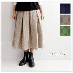 【etre nne エトレンヌ】ドット ジャガード ボックスプリーツ 切替 スカート (1113093)