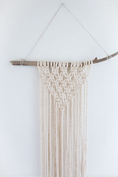 These beautiful macrame add a nice textural element to any wall, a throw back to the 70's. Weaved using a natural rope, the long strands are re-twisted as well to add even more dimension. stick widths
